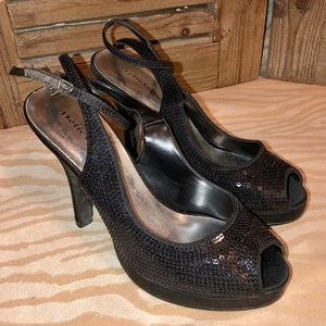 "5"" platform heels, black sequined, size 7"